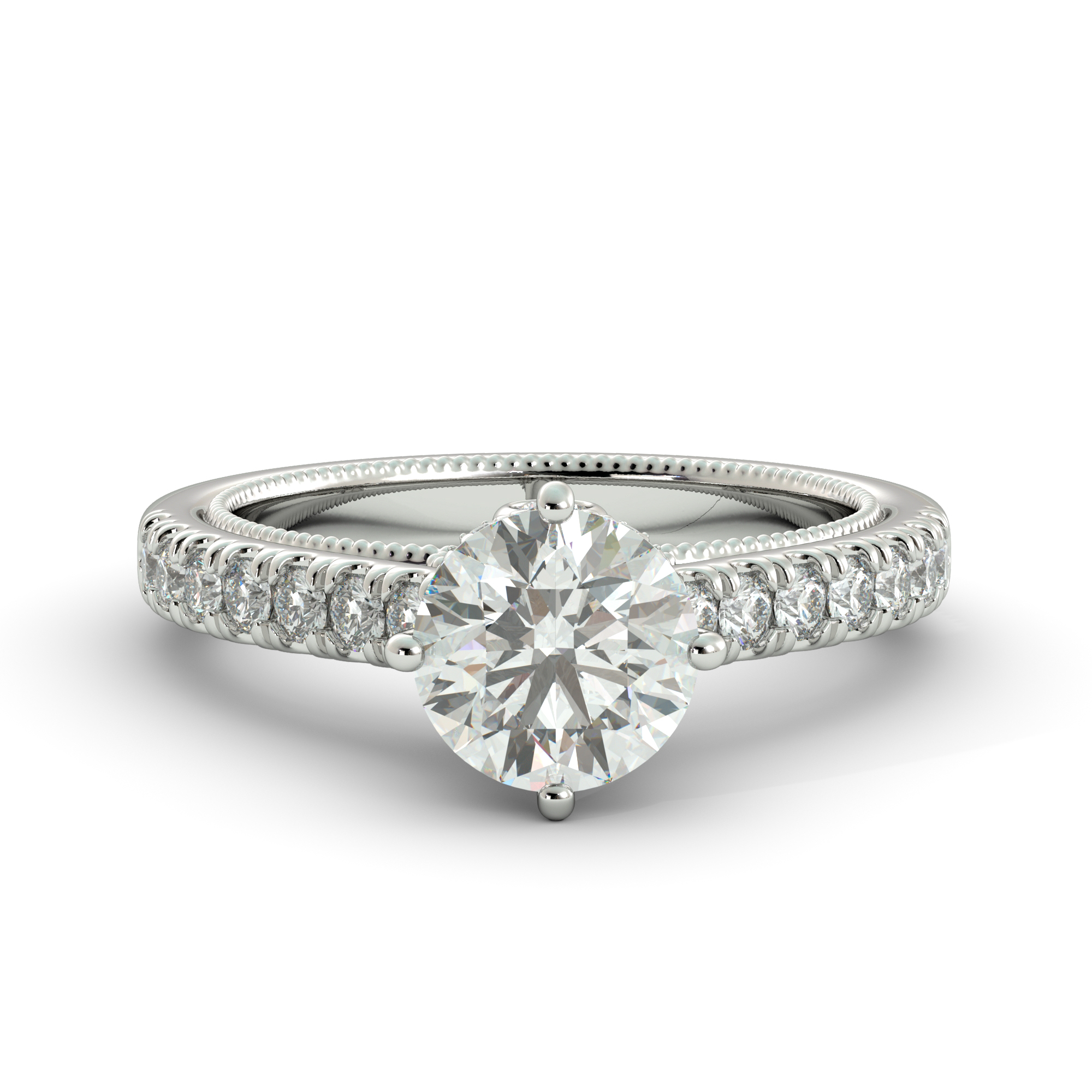 2.90 ct C&C Forever One Round Cut Moissanite & Diamond Engagement Ring 14White Gold by J&H Jewelers