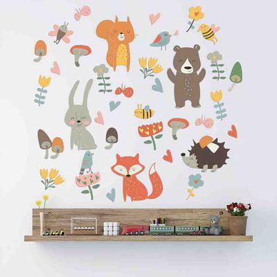 KABOER Woodland Animals Nursery Wall Sticker Forest Fox Bear Cartoon Decal Baby Kids