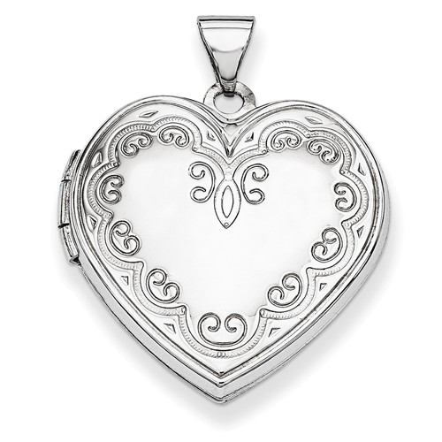 14k White Gold Heart Locket by Jewelrypot