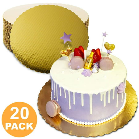 10 Inches Round Cake Boards - Cardboard Disposable Cake Pizza Circle Scalloped Gold Tart Decorating Base Stand - 20 Pieces - Cardboard Cake Stand