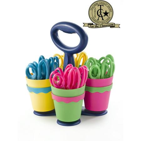"Westcott 5"" Blunt School Scissors Caddy - 24 Pairs of Kids' Scissors w/ Microban"