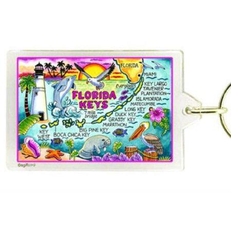 Florida Keys Map Acrylic Rectangular Souvenir Keychain 2.5 inches X 1.5 inches (Blank Acrylic Keychains)