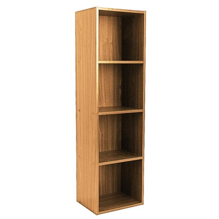 4 Tiers Bookshelf,Wooden Bookcase Stand Cube Shelving Display Storage Wood Book (Steffy Wood Bookcase Display)
