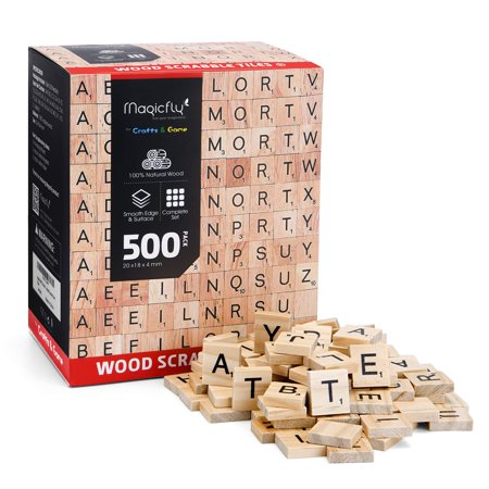 Magicfly 500Pcs Scrabble Tiles, Wood Craft Scrabble Letters Word Tiles, A-Z for Wood Gift Decoration & Scrabble Crossword