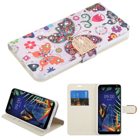 For LG K40 Case by Insten MyJacket Butterfly Wonderland Stand Folio Flip Leather [Card Holder Slot] Wallet Pouch Case Cover With Diamond For LG K40,
