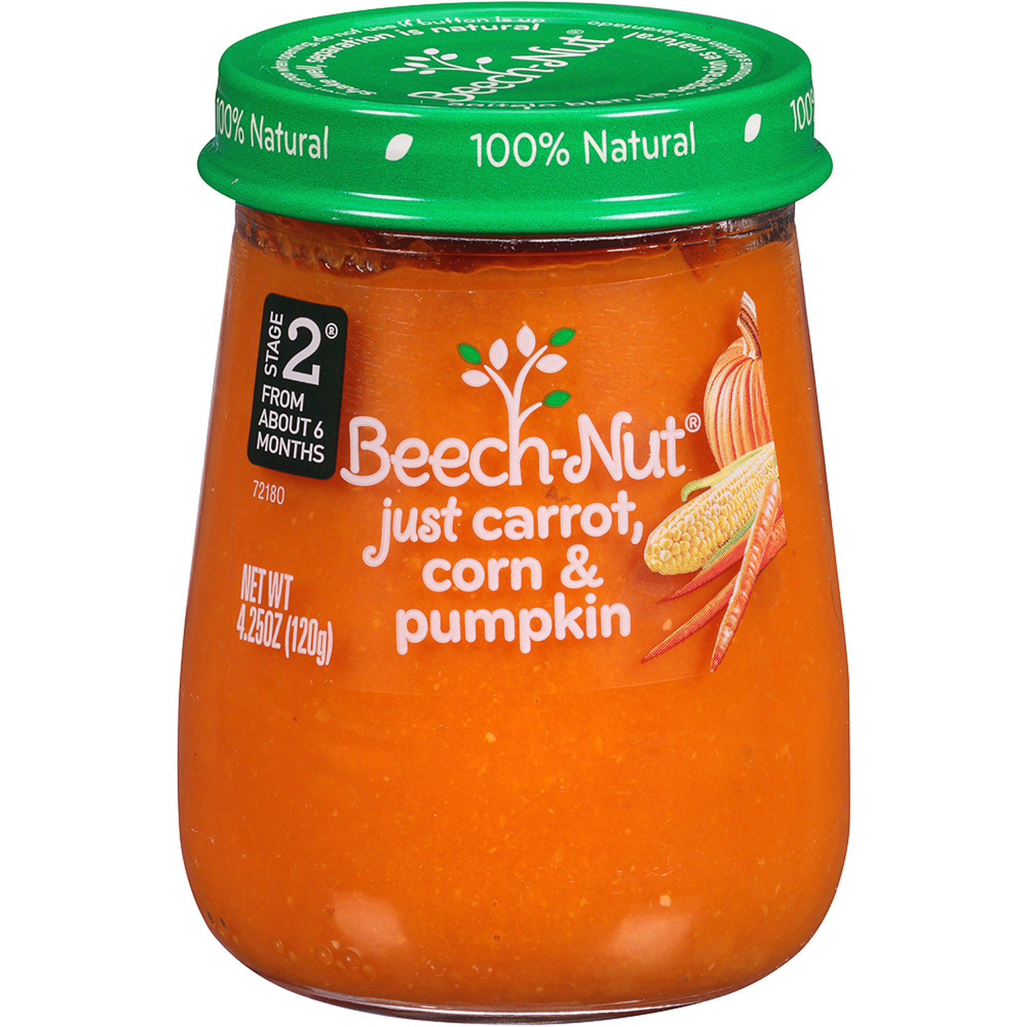 Beech-Nut Naturals Stage 2 Just Carrot, Corn & Pumpkin Stage 2 Baby Food, 4.25 oz, (Pack of 10)