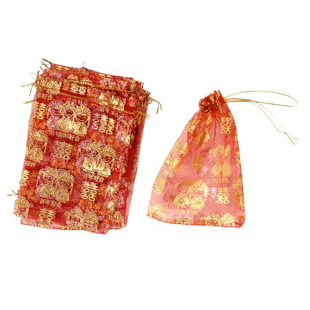 Unique Bargains 10 Pcs Red Gold Tone Bride Bridegroom Pattern Wedding Candy Organza Gift Bag