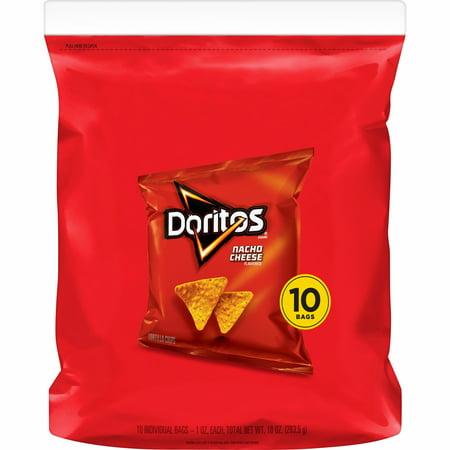 Doritos Nacho Cheese Flavored Tortilla Chips, 1 oz Bags, 10 Count