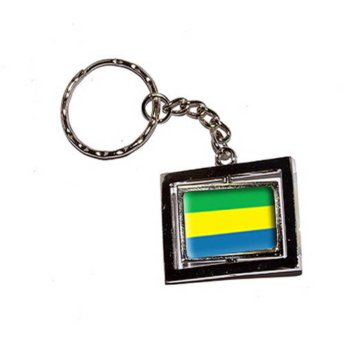 Gabon Country Flag New Keychain Ring