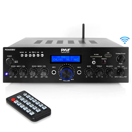 PYLE PDA65BU - Compact Home Theater Amplifier Stereo Receiver with Bluetooth Wireless Streaming, Independent Mic Echo & Volume Control, MP3/USB/SD/AUX/FM Radio, AV Inputs (200