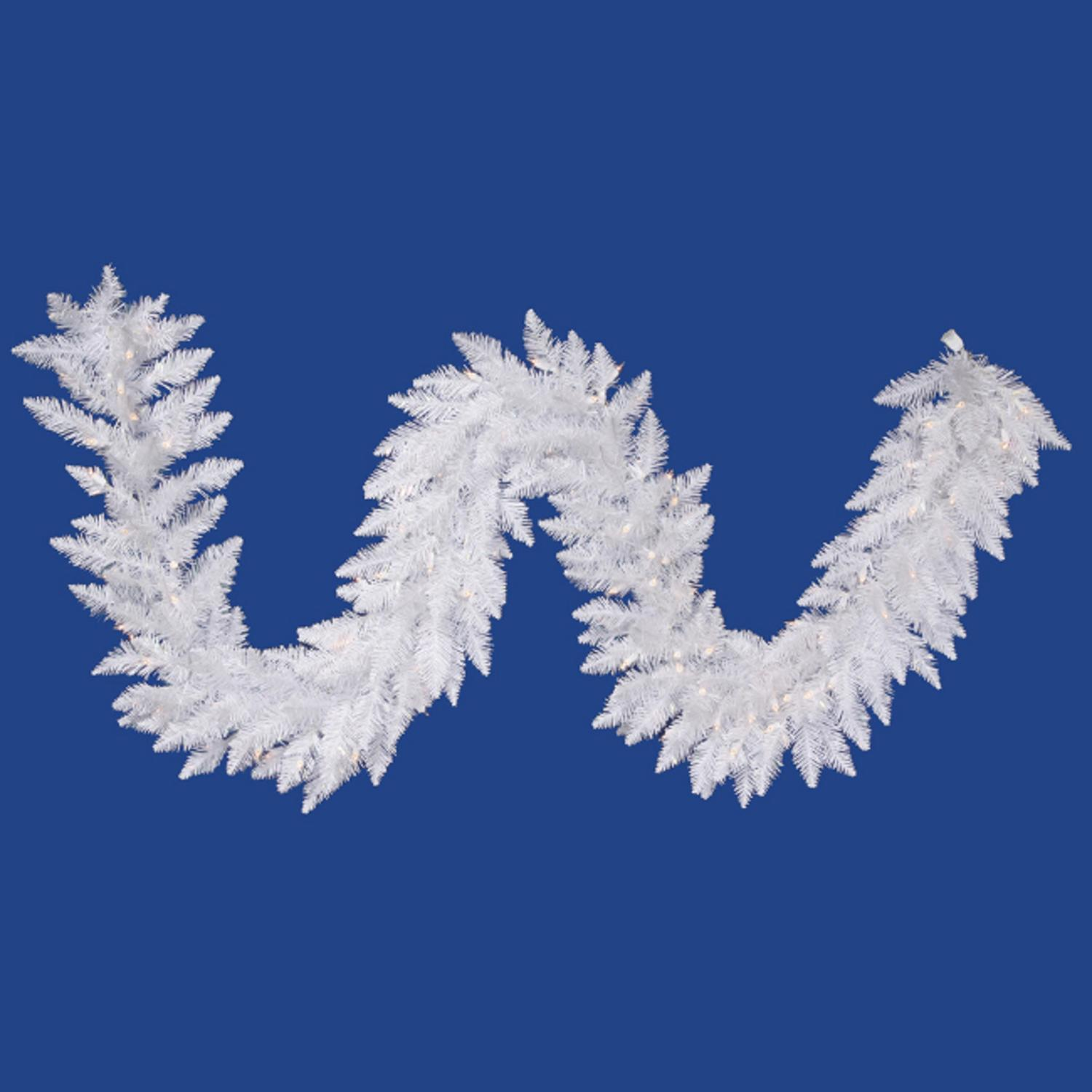 """9' x 14"""" Pre-Lit Sparkle White Spruce Artificial Christmas Garland -Clear Lights"""