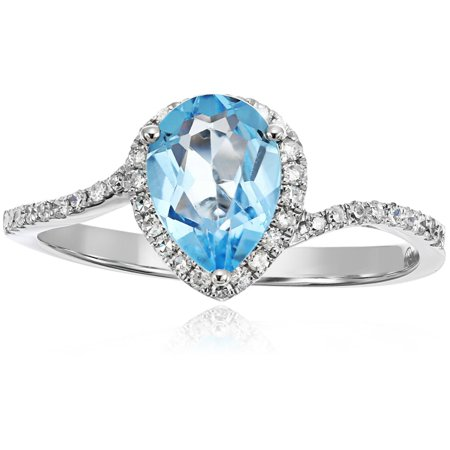 Pinctore Pinctore 10k White Gold Swiss Blue Topaz and Diamond Princess Diana Pear Shape Engagement Ring (1/5cttw, H-I Color, I1-I2 Clarity), Size 7