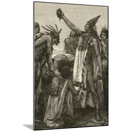 Aztec Wall Mount - Aztec Priest Holding Heart from Human Sacrifice, 1892 Wood Mounted Print Wall Art