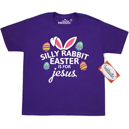 Inktastic Silly Rabbit Easter Is For Jesus With Bunny Head And Youth T Shirt Kids Happy Eggs Cross Cute Adorable Animal Tee Children Child Tween Clothing Apparel Teen