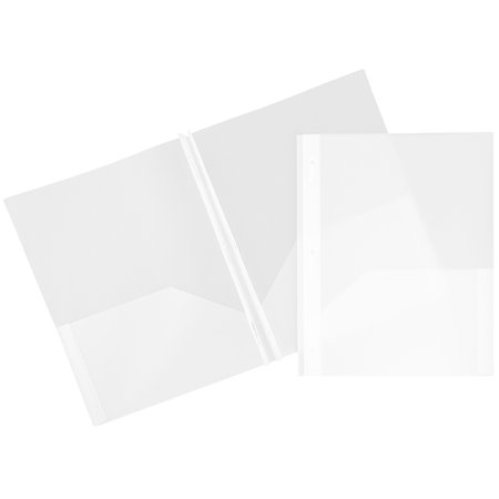 2 Pocket Folders Bulk (JAM Paper Plastic Eco Two Pocket Presentation Folder with Clasps, Clear,)