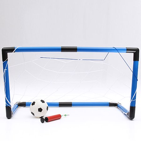 Grtsunsea Folding Mini Football Soccer Goal Post Net Set with Pump Kids Sport Indoor Outdoor Games Toys Child Birthday Gift Plastic