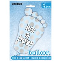 """It's a Boy"" Giant Foil Footprint Baby Shower Balloon, Blue, 31in, 1ct"