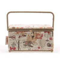 """Allary 4397 Jumbo Tan 16""""x10""""x8"""" Rectangle Sewing Basket Bundle with 811 Sewing Accessory Kit"""