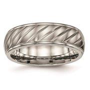 Titanium Polished & Brushed Finish Grooved 7mm Wedding Ring Band Size 11.5