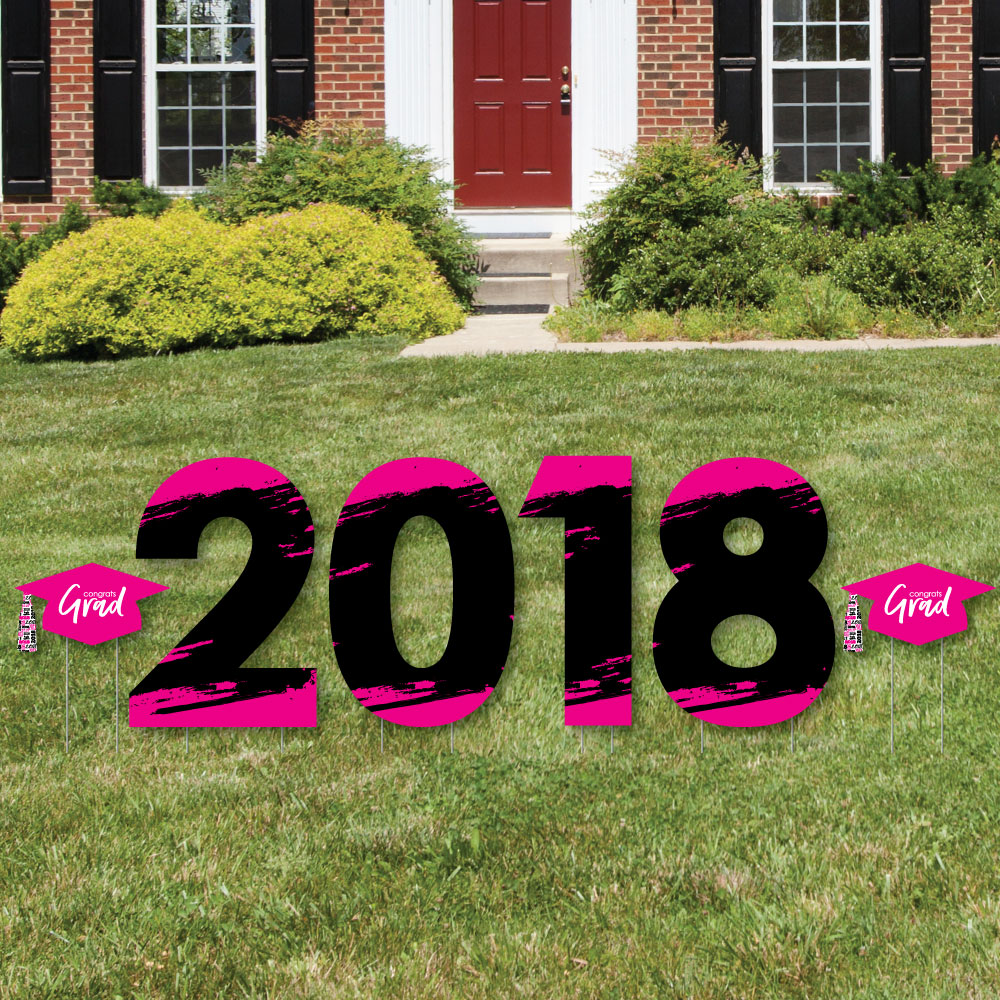 Pink Grad - Best is Yet to Come - 2018 Yard Sign Outdoor Lawn Decorations - Pink Graduation Party Yard Signs