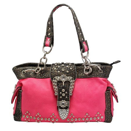 Elegant Fuchsia Colored Faux Leather Purse With Belt Buckle Flap Clasp