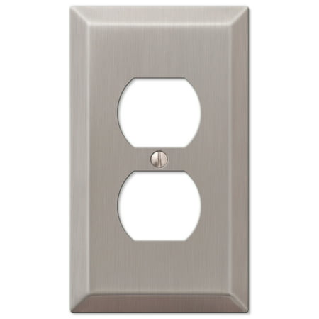 Baldwin Duplex Switchplate - Single Duplex 1-Gang Decora Wall Switch Plate, Brushed Nickel