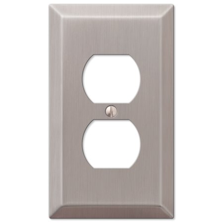 - Single Duplex 1-Gang Decora Wall Switch Plate, Brushed Nickel