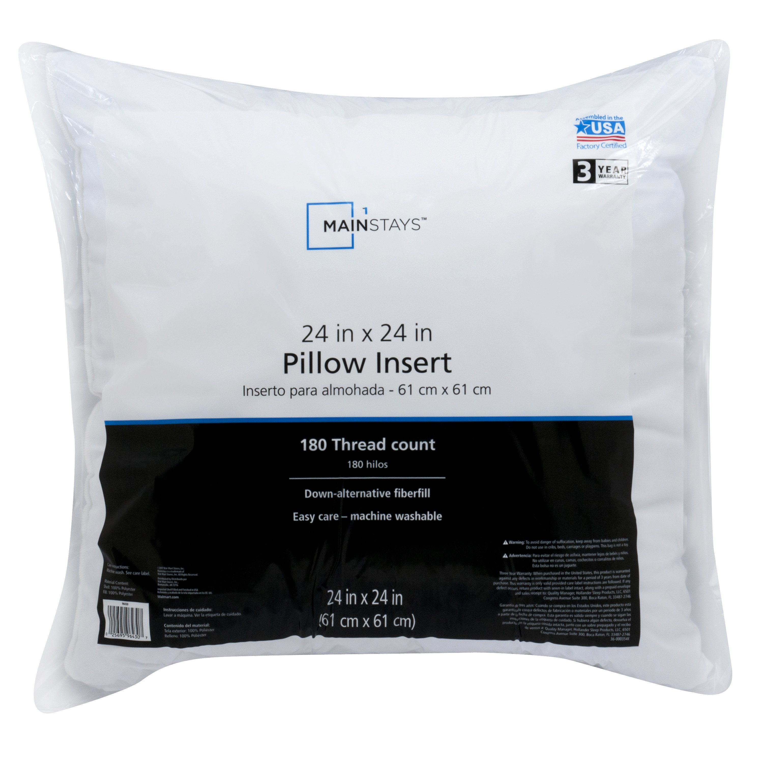Mainstays Decorative Pillow Insert In 100 Polyester 24 X