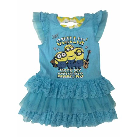 Little Girl From Despicable Me (Little Girls Blue Chillin With My Minions Dress Tulle Despicable Me Sundress)