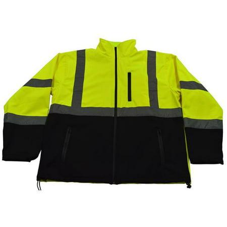 Petra Roc LBSFJ1-C3-4X ANSI 107-2015 Class 3 Two Tone Bottom Water Resistant Soft Shell Jacket, Lime & Black - -