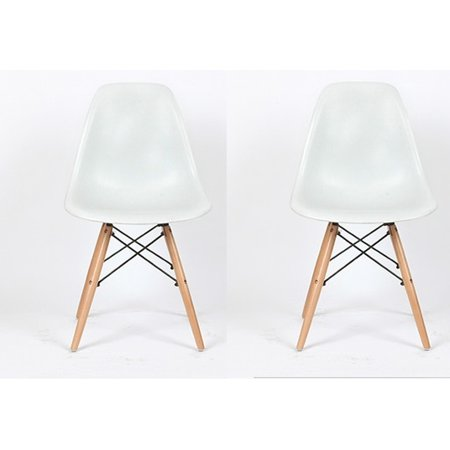 Btexpert Eiffel Retro Style Natural Wood Dowell Legs Dining Room Side Chair   White Dsw Set Of 2