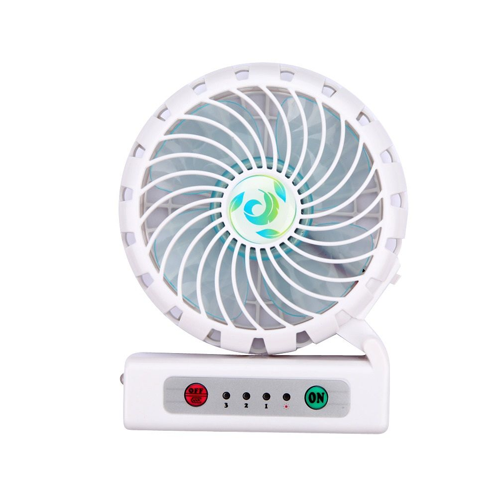 Insten Portable Rechargeable Mini Deask Fan USB Air Cooler with Phone Charging Function - White