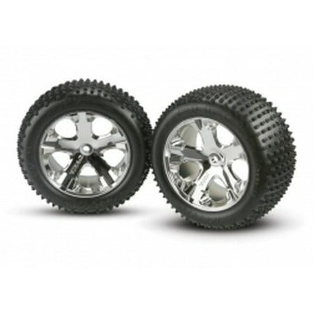 Traxxas 3770 Chrome Wheel, Rear with Alias Tire (2): (Traxxas Tie)