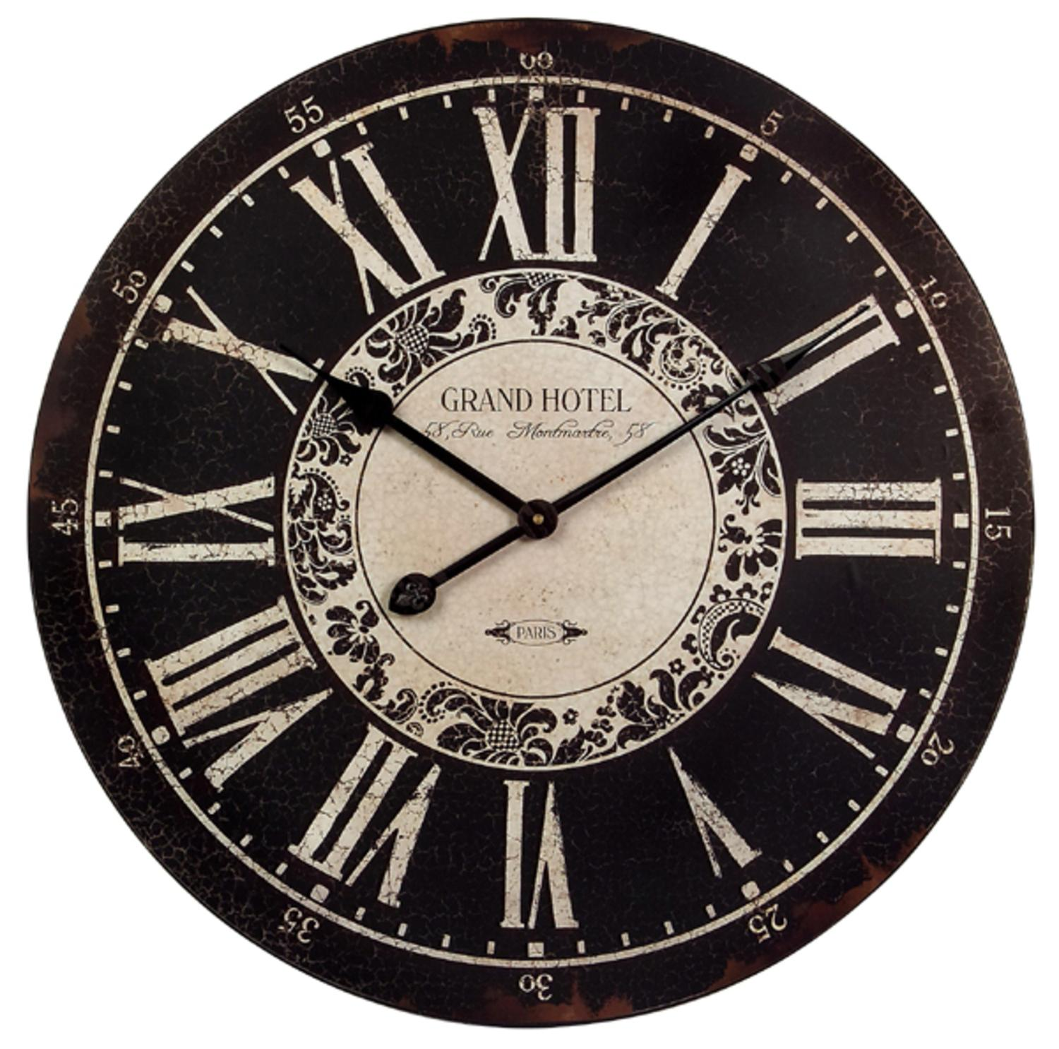 "24"" Black & White Vintage-Style Round Roman Numeral Wall Clock"