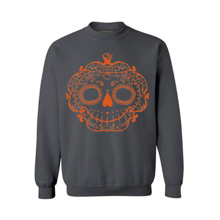 Awkward Styles Halloween Sugar Pumpkin Sweatshirt Sugar Skull Sweater for Men and Women Halloween Pumpkin Outfit Funny Halloween Sweaters Spooky Gifts Cute Halloween Sweatshirt Holiday Sweater (Halloweens Weather)