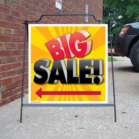 2' x 2' Corrugated Plastic Sign - Big Sale - Two Sided Sign with Black Hanging Frame (Corrugated Plastic Yard Signs)