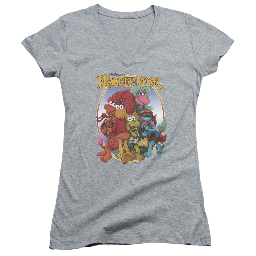 Fraggle Rock Group Hug Juniors V-Neck Shirt