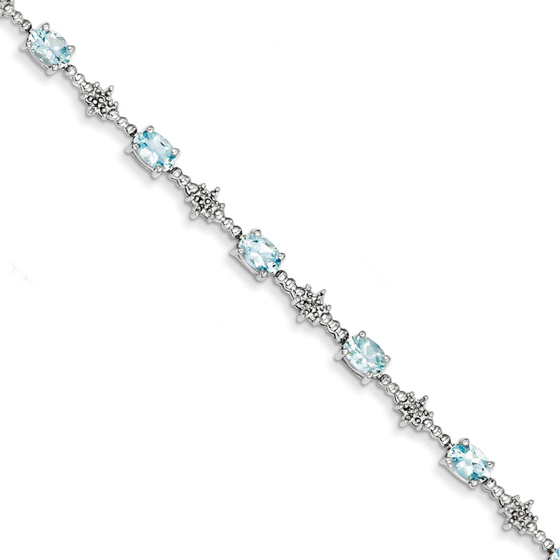 Sterling Silver Aquamarine and Diamond Bracelet by Kevin Jewelers