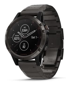 Fenix 5 Plus Sapphire, Black with black band