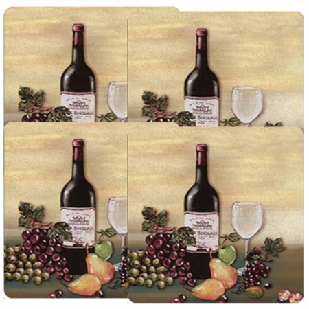 Basics Appliances (Calypso Basics, Tin Gas Square Burner Cover Set of 4, Wine & Vine)