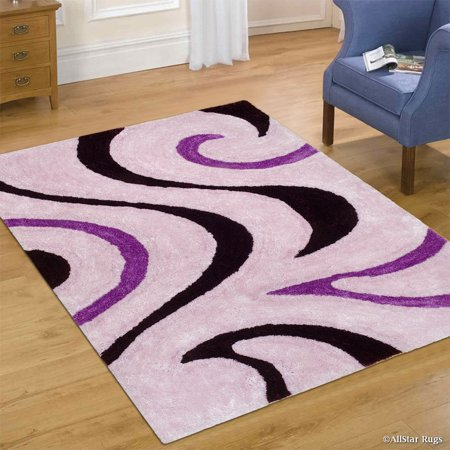 Allstar Purple Shaggy Area Rug with 3D Black Lines Design. Contemporary Hand Tufted (5' x 7') ()