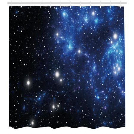Constellation Shower Curtain Outer Space Star Nebula Astral Cluster Astronomy Theme Galaxy Mystery Fabric Bathroom Set With Hooks Blue Black White