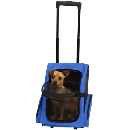 632ca2efd554 Blue Pet Carrier Dog Cat Rolling Back Pack Travel Airplane Wheel ...
