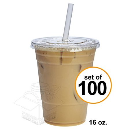 Comfy Package 16 oz. Crystal Clear Plastic Cups With Flat Lids [100 Sets] Lid Plastic Lids