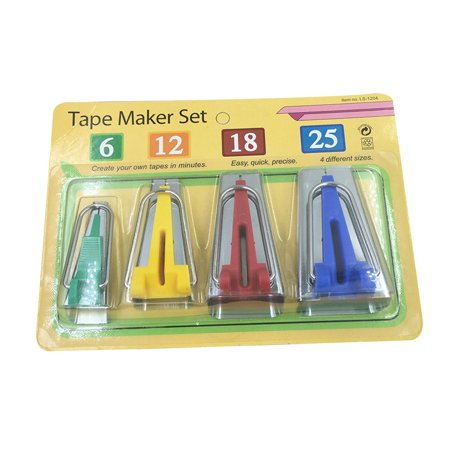 4 Sizes Fabric Bias Tape Maker Kit for Sewing Quilting Awl and Adjustable Binder Foot with Case