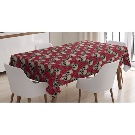 Rose Tablecloth, Graphic Skulls and Red Rose Blossoms Halloween Inspired Retro Gothic Pattern, Rectangular Table Cover for Dining Room Kitchen, 52 X 70 Inches, Vermilion Tan Green, by Ambesonne - Halloween Inspired Fruit