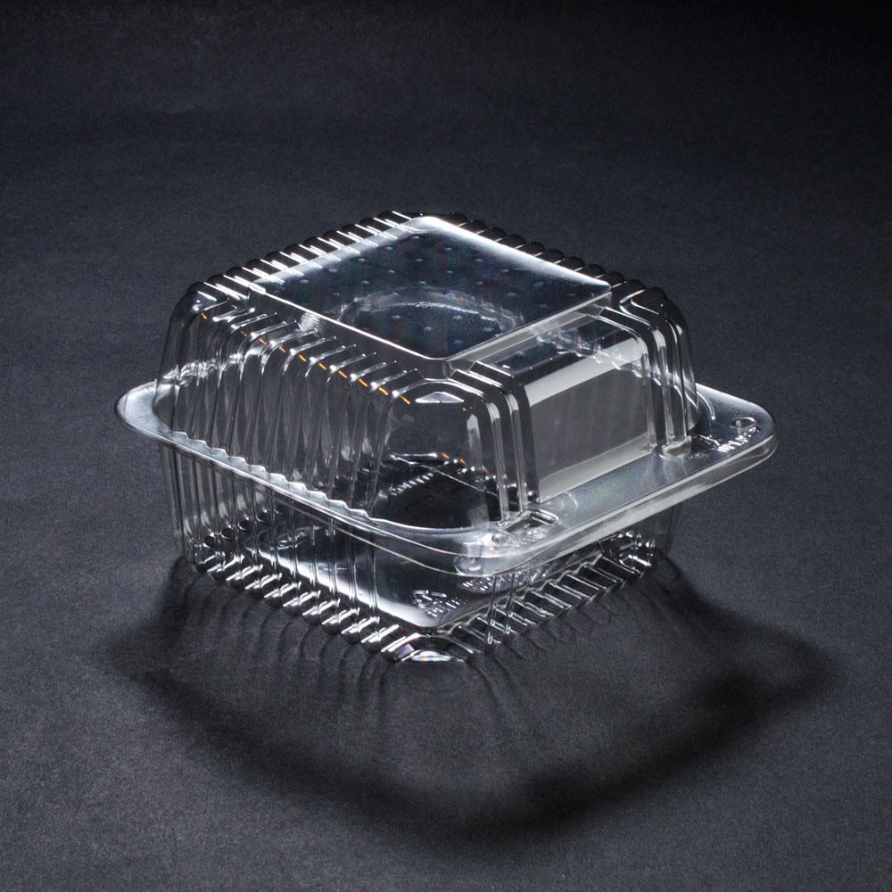 5 x 5 x 3 PETE Square Plastic Clear Hinged Containers/Set of 500