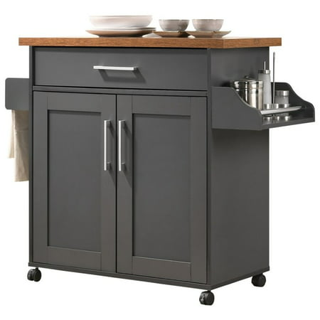 Pemberly Row Kitchen Island with Spice Rack in Gray