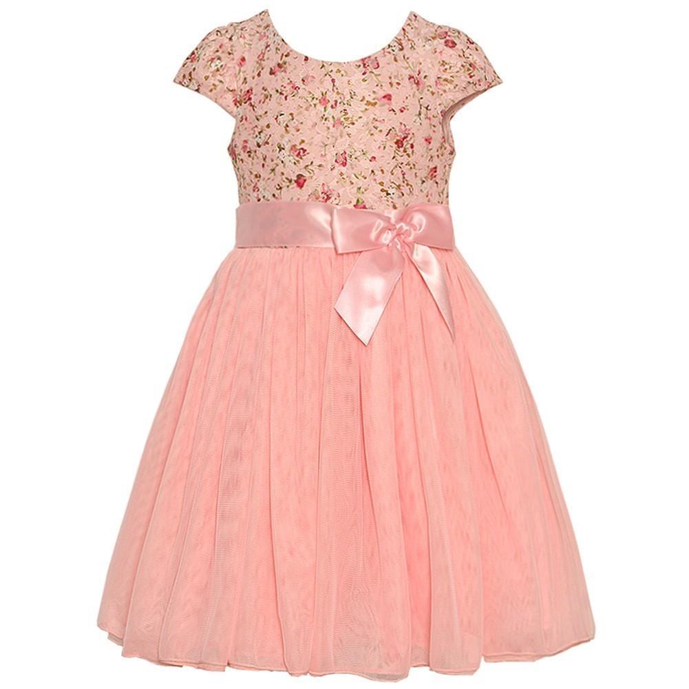 Bonnie Jean Little Girls Pink Floral Pattern Ribbon Short...