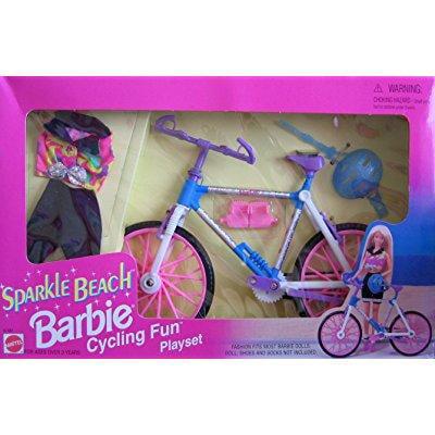 Barbie sparkle beach cycling fun playset w biking outfit ; more (1995 arcotoys, mattel)